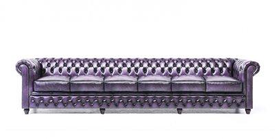 Chesterfield Sofa Original Leder | 6-Sitzer | Antik violett | 12 Jahre Garantie