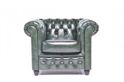 Chesterfield Sessel Original Leder   Antik grün   12 Jahre Garantie