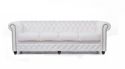 Chesterfield Sofa Original Leder   4-Sitzer   Weiß   12 Jahre Garantie
