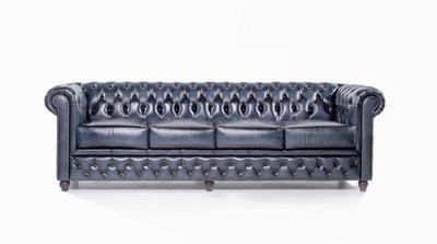 Chesterfield Sofa Original Leder   4-Sitzer   Antik blau   12 Jahre Garantie