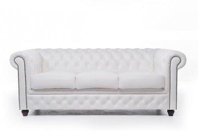 Chesterfield Sofa Original Leder | 3-Sitzer | Weiß | 12 Jahre Garantie