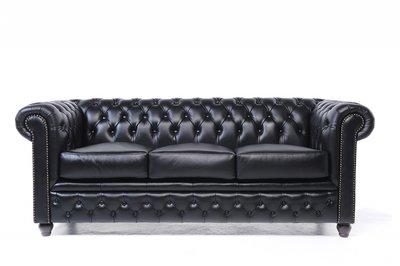 Chesterfield Sofa Original Leder | 3-Sitzer | Schwarz | 12 Jahre Garantie