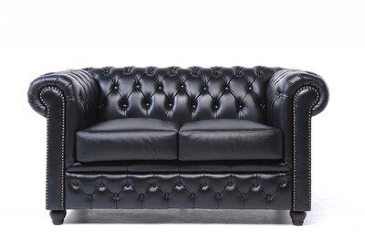 Chesterfield Sofa Original Leder | 2-Sitzer | Schwarz | 12 Jahre Garantie