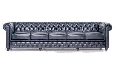 Chesterfield Sofa Original Leder | 5-Sitzer | Antik blau | 12 Jahre Garantie