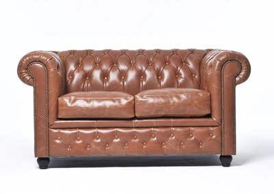 Chesterfield Sofa Vintage Leder |  2-Sitzer | Mokka | 12 Jahre Garantie