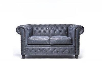 Chesterfield Sofa Vintage Leder | 2-Sitzer | Schwarz | 12 Jahre Garantie
