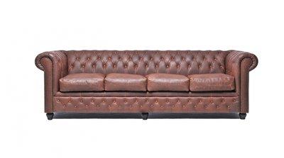 Chesterfield Sofa Vintage Leder | 4-Sitzer | Braun | 12 Jahre Garantie