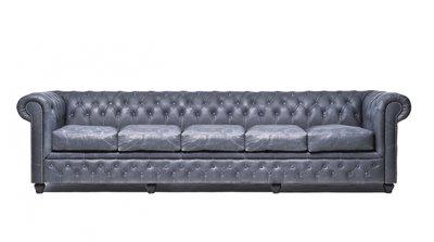 Chesterfield Sofa Vintage Leder   5-Sitzer  Schwarz   12 Jahre Garantie