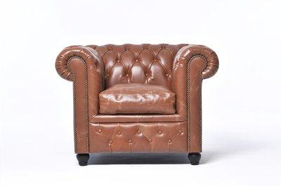 Chesterfield Sessel Vintage Leder   Mokka   12 Jahre Garantie