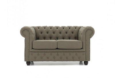 Chesterfield Sofa Original Stoff | 2-Sitzer  | Pitch Beige | 12 Jahre Garantie