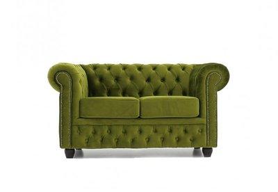Chesterfield Sofa Original Samt | 2-Sitzer | Grün |12 Jahre Garantie