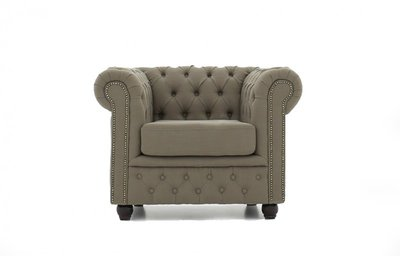 Chesterfield Sessel Original | Stoff  | Pitch Beige | 12 Jahre Garantie