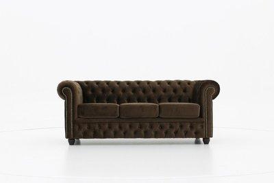 Chesterfield Sofa Original Samt| 3-Sitzer  |  Braun | 12 Jahre Garantie