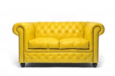 Chesterfield Sofa Original Leder | 2-Sitzer | Gelb | 12 Jahre Garantie