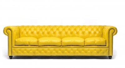 Chesterfield Sofa Original Leder | 4-Sitzer | Gelb | 12 Jahre Garantie