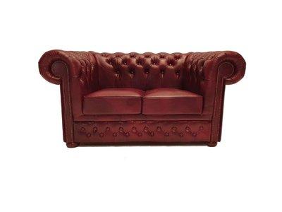 Chesterfield Sofa First Class Leder |2- Sitzer |  Cloudy Rot | 5 Jahre Garantie
