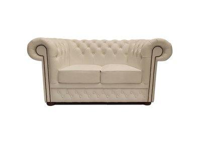Chesterfield Sofa First Class Leder   2-Sitzer   Weiß   5 Jahre Garantie