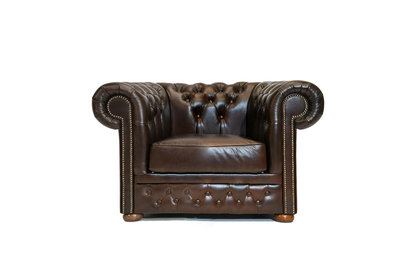 Chesterfield Sessel First Class Leder | Sessel | Cloudy Braun Dark| 12 Jahre Garantie