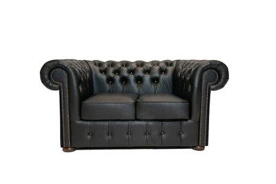 Chesterfield Sofa Class Leder | 2-Sitzer | Shiny Schwarz | 5 Jahre Garantie
