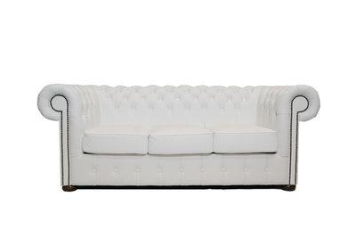 Chesterfield Sofa Class Leder | 3-Sitzer | Weiß  | 12 Jahre Garantie