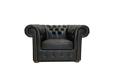 Chesterfield Sessel Class Leder | Sessel | Shiny Schwarz | 12 Jahre Garantie