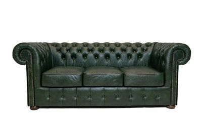 Chesterfield Sofa Class Leder | 3-Sitzer | Cloudy Grün | 12 Jahre Garantie