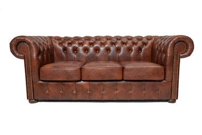 Chesterfield Sofa Class Leder   3-Sitzer    Cloudy Braun Old   12 Jahre Garantie