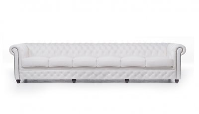 Chesterfield Sofa Original Leder   6-Sitzer   Weiß   12 Jahre Garantie