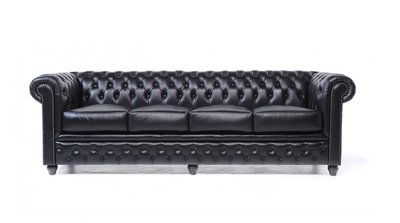 Chesterfield Sofa Original Leder   4-Sitzer   Schwarz   12 Jahre Garantie