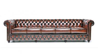 Chesterfield Sofa Original Leder  5-Sitzer   Antik braun   12 Jahre Garantie