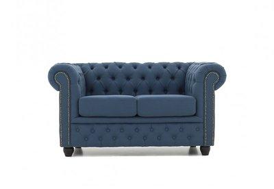 Chesterfield Sofa Orignal Stoff |  2-Sitzer  | Pitch Blau | 12 Jahre Garantie