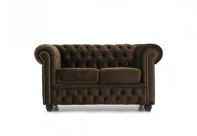 Chesterfield Sofa Original Samt | 2-Sitzer | Braun | 12 Jahre Garantie