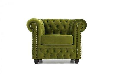 Chesterfield Sessel  Original   Samt    Grün   12 Jahre Garantie