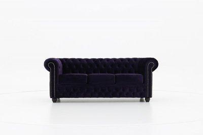 Chesterfield Sofa Original Samt| 3-Sitzer  |  Violett | 12 Jahre Garantie