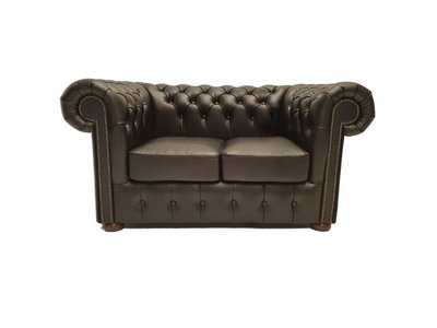 Chesterfield Sofa Class Leder |2-Sitzer | Shiny Schwarz | 12 Jahre Garantie