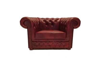Chesterfield Sessel First Class Leder | Cloudy Rot | 12 Jahre Garantie