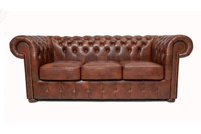 Chesterfield  Sofa Class Leder |3- Sitzer| Cloudy Braun Old | 12 Jahre Garantie