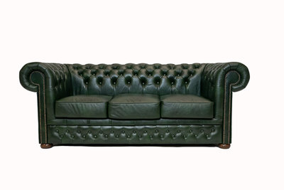 Chesterfield  Sofa First Class Leder |3- Sitzer| Cloudy Green | 12 Jahre Garantie