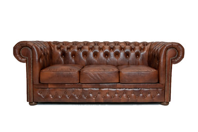 Chesterfield  Sofa First Class Leder |3- Sitzer| Cloudy Braun Old | 12 Jahre Garantie