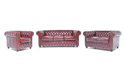 Chesterfield Sofa Original Leder    1 + 2 + 3 Sitzer   Antik Rot  12 Jahre Garantie
