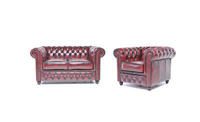 Chesterfield Sofa Original Leder    1 + 2  Sitzer   Antik Rot  12 Jahre Garantie