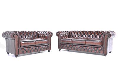 Chesterfield Sofa Original Leder |  2 + 3  Sitzer | Antik Braun |12 Jahre Garantie