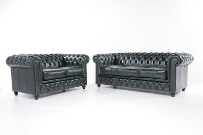 Chesterfield Sofa Original Leder    2 + 3  Sitzer   Antik Grün  12 Jahre Garantie