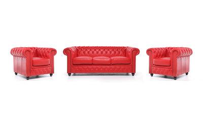 Chesterfield Sofa Original Leder    1+ 1 + 3  Sitzer   Rot  12 Jahre Garantie