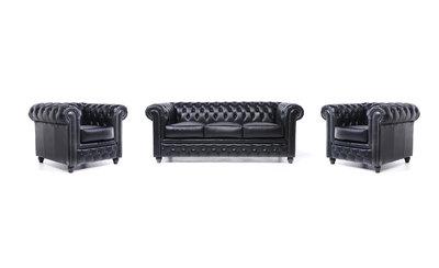 Chesterfield Sofa Original Leder |  1+ 1 + 3  Sitzer | Schwarz |12 Jahre Garantie