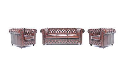 Chesterfield Sofa Original Leder    1+ 1 + 3  Sitzer   Antik Braun  12 Jahre Garantie