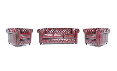 Chesterfield Sofa Original Leder |  1+ 1 + 3  Sitzer | Antik Rot |12 Jahre Garantie