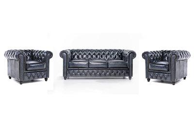 Chesterfield Sofa Original Leder    1+ 1 + 3  Sitzer   Antik Blau  12 Jahre Garantie