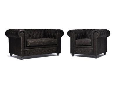 Chesterfield Sofa Vintage Leder C0936   1 + 2 Sitzer   12 Jahre Garantie