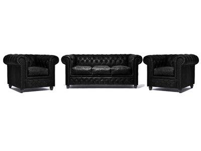 Chesterfield Sofa Vintage Leder C0871 | 1 + 1 + 3 Sitzer | 12 Jahre Garantie